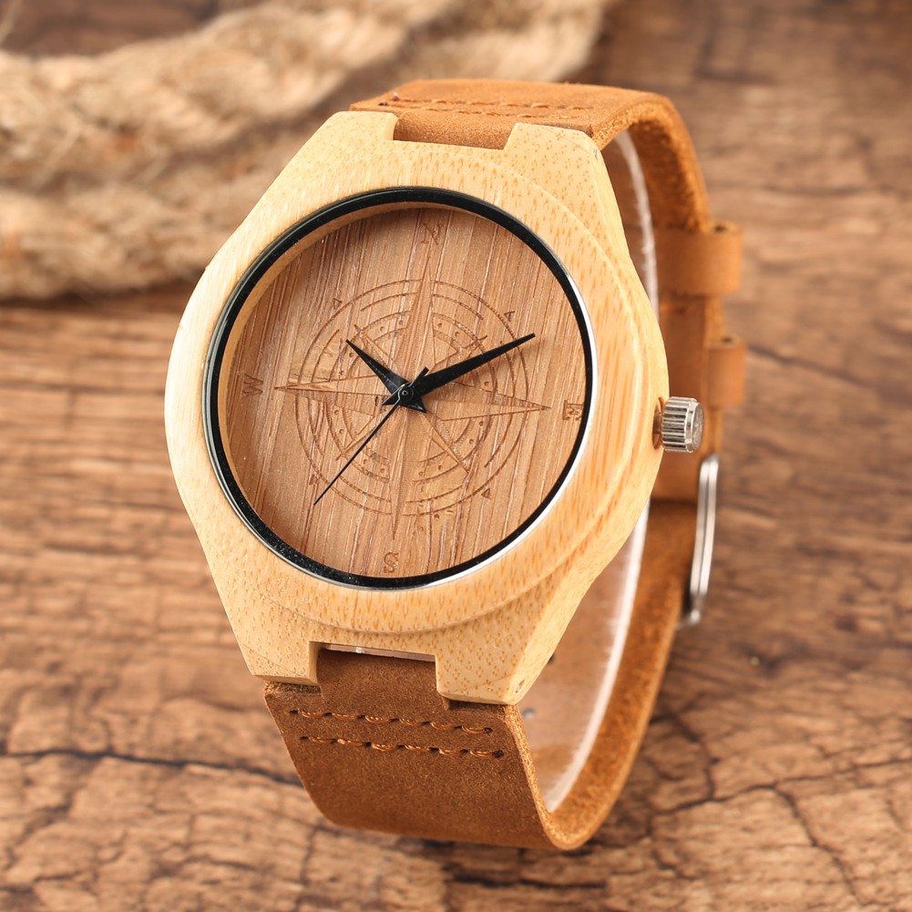 Bamboo Watch Mens Handmade Wooden Wristwatch Quartz Genuine Leather Wood Watch for Men Unique Fashion Wrist Clock Gifts reloj creative rectangle dial wood watch natural handmade light bamboo fashion men women casual quartz wristwatch genuine leather gift