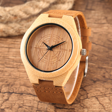 Bamboo Watch Mens Handmade Wooden Wristwatch Quartz Genuine Leather Wood Watch for Men Unique Fashion Wrist Clock Gifts reloj