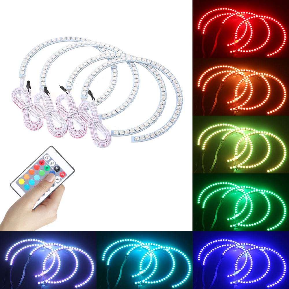 16 Colors Changing DC12V 34W  RGB Multi-colored LED Angel Eyes Halo Ring SMD5050 With Remote Control  Flash/ Strobe Truck SUV RV