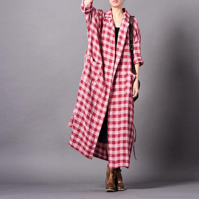 Johnature Vintage Kẻ Sọc Dài Plus Vải Lanh Cotton Hào 2019 Mùa Xuân Mới gập Tất Nút 3 Màu Túi Nữ áo khoác