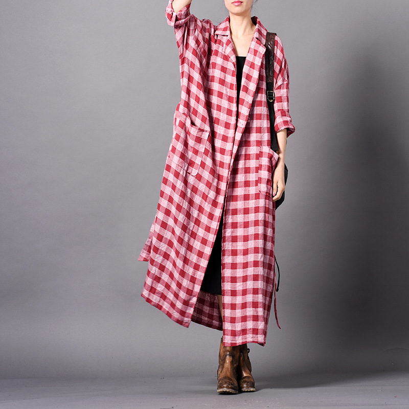 Johnature Vintage Plaid Long Plus Cotton Linen Trench 2019 New Spring Turn down Sashes Button 3 Colors Pockets Women Coats-in Trench from Women's Clothing    1