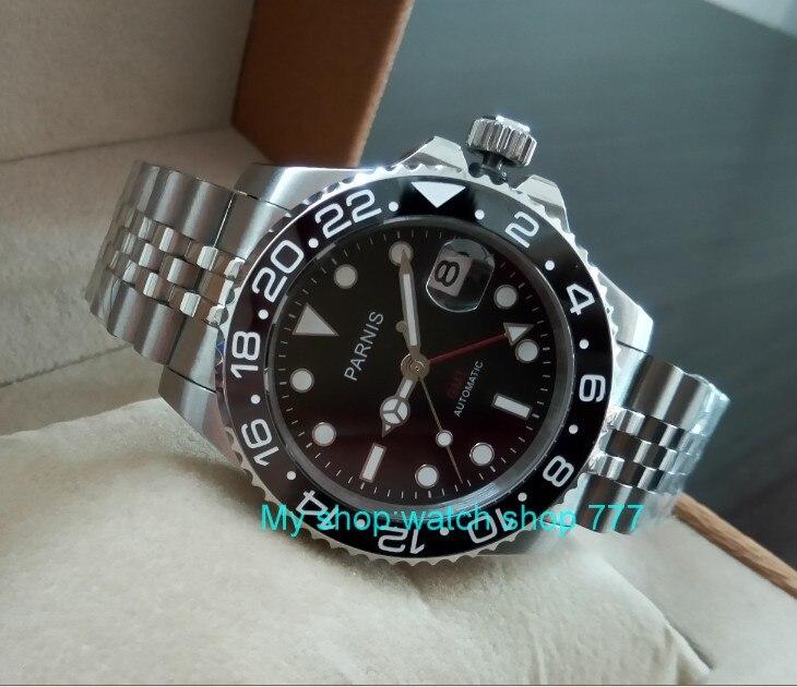 40 MM PARNIS GMT Automatische Selbst Wind bewegung schwarz Keramik lünette Sapphire Kristall luminous männer uhr PA34 8-in Mechanische Uhren aus Uhren bei  Gruppe 2