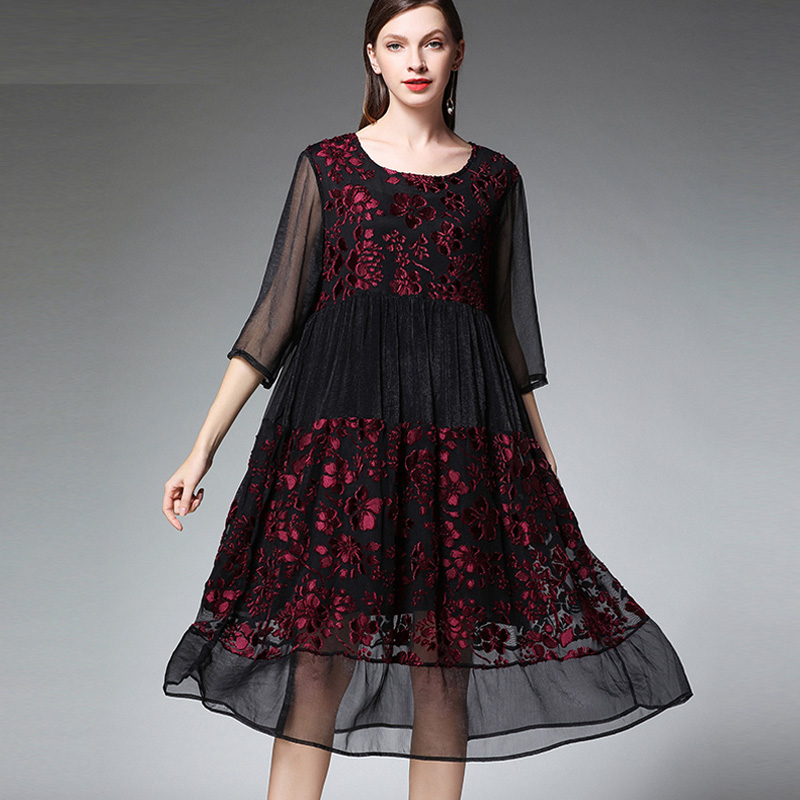 Large size ladies womens fashion joint Chiffon dresses plus size casual loose high waist O neck
