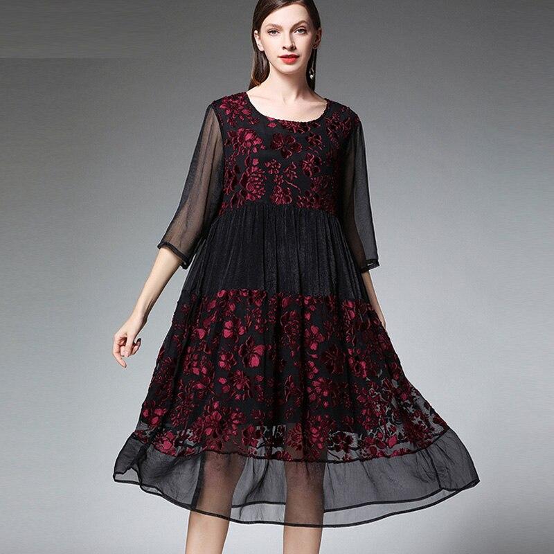 Grande taille femmes mode joint en mousseline de soie robes de grande taille décontracté lâche taille haute O cou mi manches robe élégante printemps