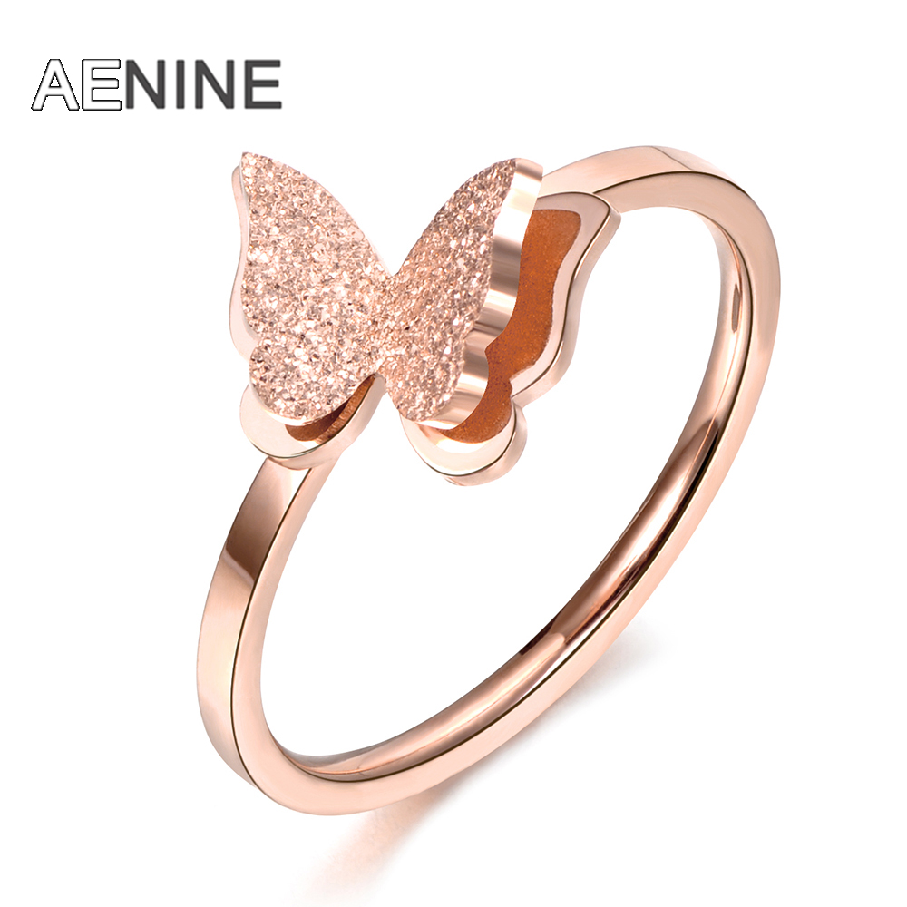 AENINE Scrub 3D Butterfly Wedding Rings For Women Girl Rose Gold Color Top Brand Jewelry Stainless Steel Engagement Ring AR18043