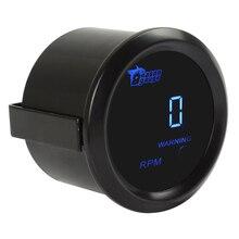 2 52mm Black Car Tachometers Auto Vehicle Blue LED Universal Digital Tacho Gauge Meter 0~9999RPM