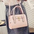 Nuevos bolsos de moda de Alta calidad de LA PU de cuero de Las Mujeres de Corea del Simple paquete Cuadrado Lock Pure color hombro salvaje bolso Femenino