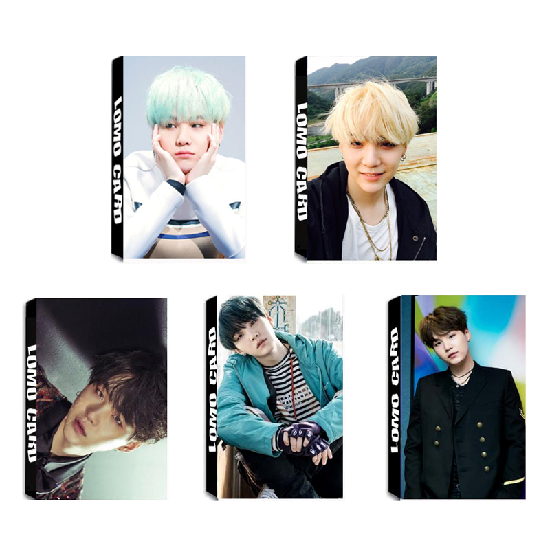 KPOP BTS Bangtan Boys Album SUGA LOMO Cards K-POP New Fashion Self Made Paper Photo Card HD Photocard LK330 brooklyn bridge pop up card 3d new york souvenir cards
