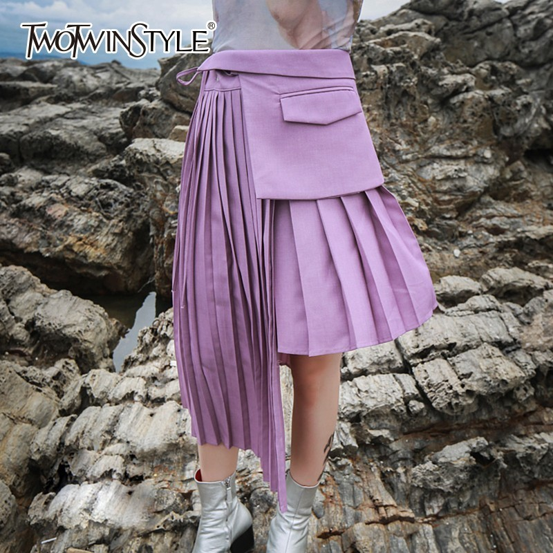 TWOTWINSTYLE Pleated Women Skirts Irregular Patchwork Pocket Lace Up High Waist Midi Skirt Female 2020 Autumn OL Clothes Casual