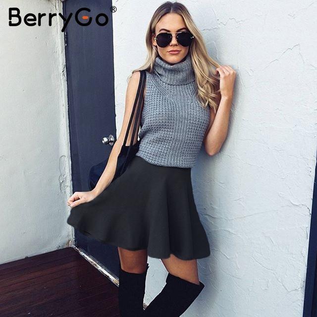 BerryGo Draped pleated knitted mini skirts Women elegant short skirt 2020