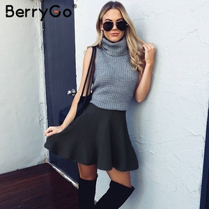 Image 4 - BerryGo עטוף קפלים סרוג מיני חצאיות נשים החורף אלגנטי קצר חצאית גבוהה מותן חצאיות נקבה 2018
