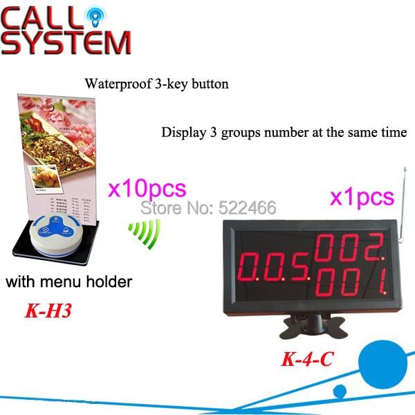 Kablosuz Restoran Çağrı Sistemi ile 10 adet 3 tuşlu çağrı düğmeleri ve 1 adet numarası ekran DHL kargo ücretsiz|Çağrı Cih.|Cep telefonları ve Telekomünikasyon Ürünleri - title=