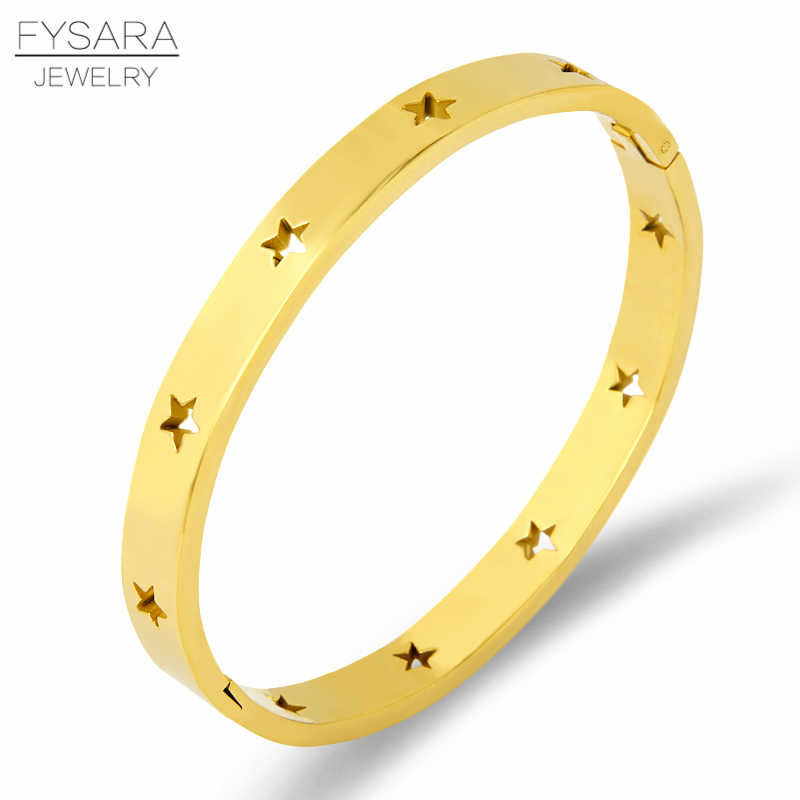 FYSARA Fashion Hollow Star Bangles & Bracelets For Women Trendy Jewelry Stainless Steel Rose Gold Silver Cuff Bracelets European