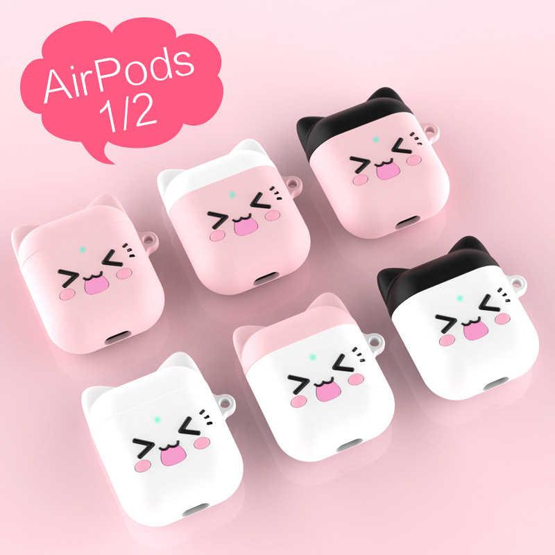 Dla Apple Airpods miękki silikon obudowa odporna na wstrząsy pokrywa dla AirPods pogrubienie słodkie kot słuchawki dla AirPods 2 Protector Case