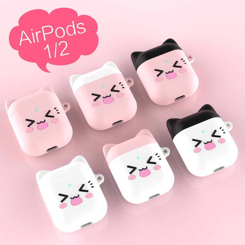 Silicone Case For Apple Airpods Soft Shockproof Cover For AirPods Thickening Cute Cat Earphone For AirPods 2 Protector Case
