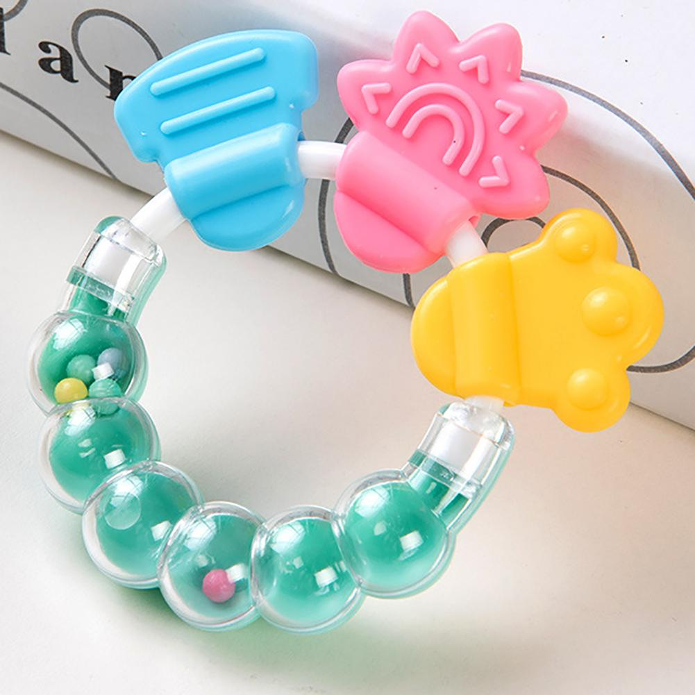 Lovely Silicone Beads Baby Teether Toys Hand Hold Teething Beads Toys Newborn Baby 0- 12 Months Teether Toys Gifts