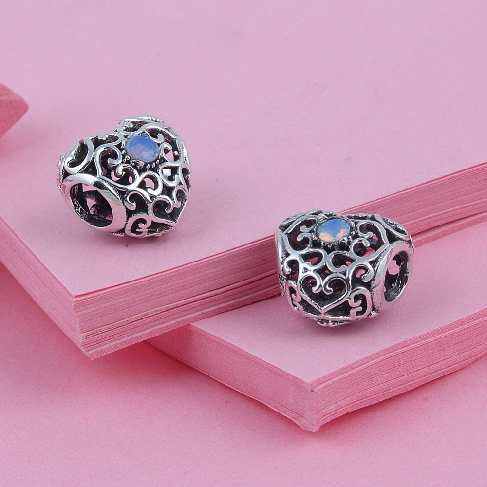 Zmzy october 925 sterling silver charms heart birthstone for Birthstone beads for jewelry making