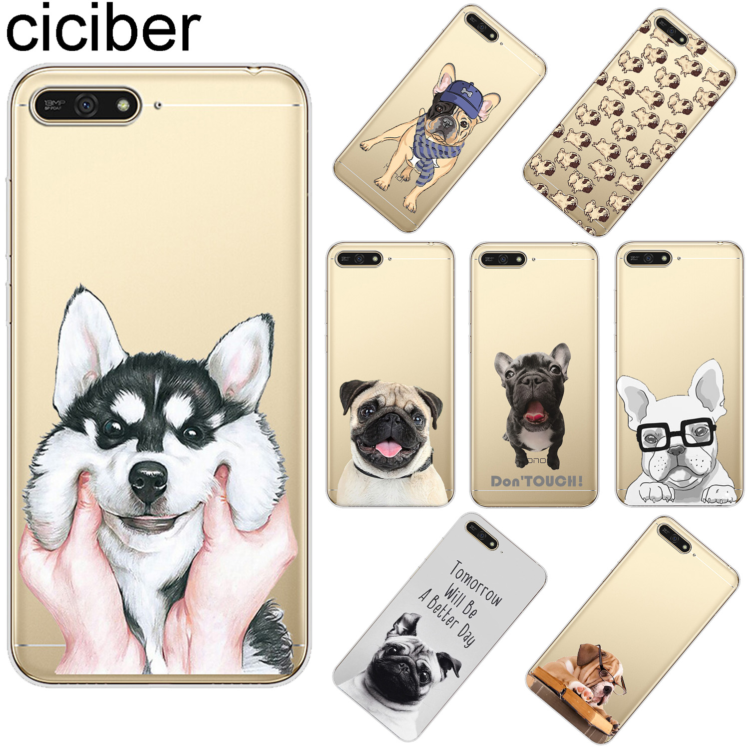 ciciber For Huawei Y9 Y7 Y6 Y5 Y3 Prime Pro 2019 2018 2017 Clear Soft Silicone TPU Phone Cases Cute Funny Pug Dog Fundas Coque in Fitted Cases from Cellphones Telecommunications