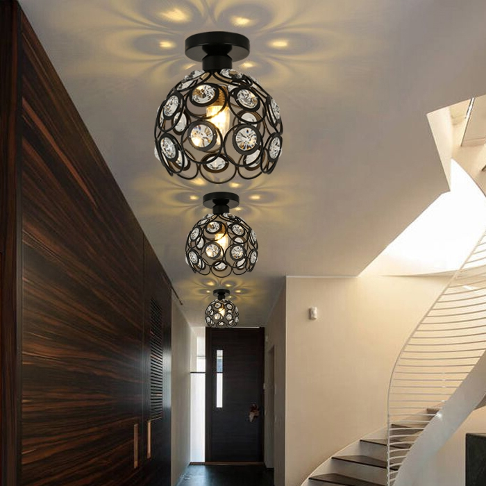 Lustre De Cristal Modern LED Crystal Ceiling Light Lamp For Living Room Hallway Lustres De Sala Free Shipping noosion modern led ceiling lamp for bedroom room black and white color with crystal plafon techo iluminacion lustre de plafond