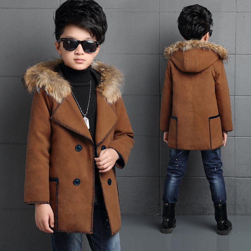 Children Boys Wool Blazers Thick Warm Clothing for Winter Kids Long Sleeve Outerwear Blazer Boy Outfits for Party EB112