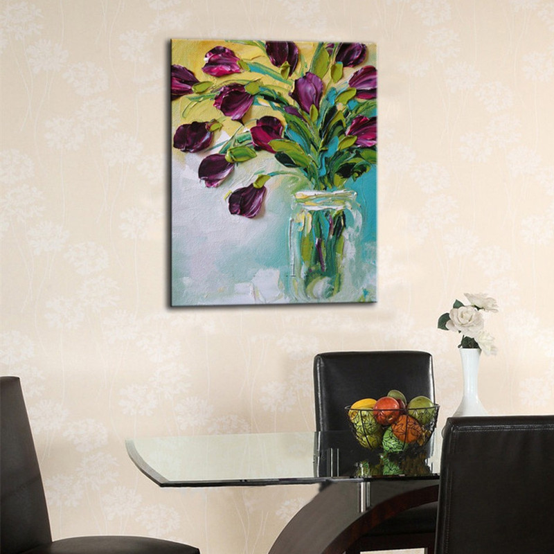 Purple Flower Oil Painting Abstract Wall Art Picture: Aliexpress.com : Buy Large Acrylic Floral Painting Modern