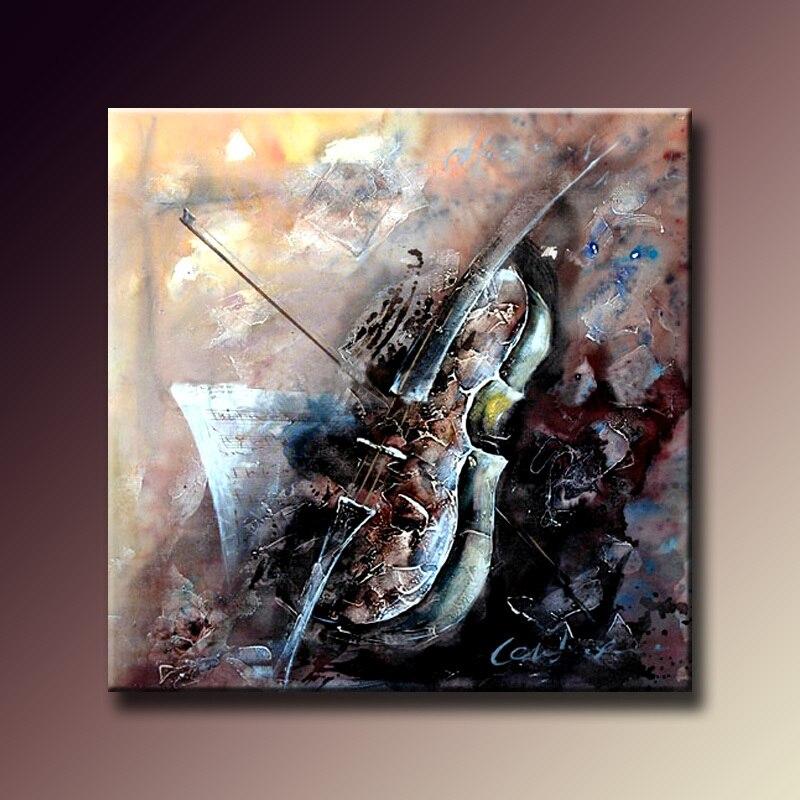Noé abstrait peint à la main peintures à l'huile Instruments de musique violon Art mur photos pour salon décoration de la maison sans cadre