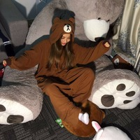 2017 New Costumes Adult Woman Man Cartoon Brown Bear Onesies Pajamas sets Polar Fleece Sleepwear Pyjamas Carnival Party Cosplay