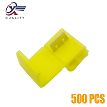 цена на 500Pcs Electrical Wire Cable Crimp Terminals Quick Splice Yellow Electrical Cable Connectors Fast Lock Wire Terminals Crimp