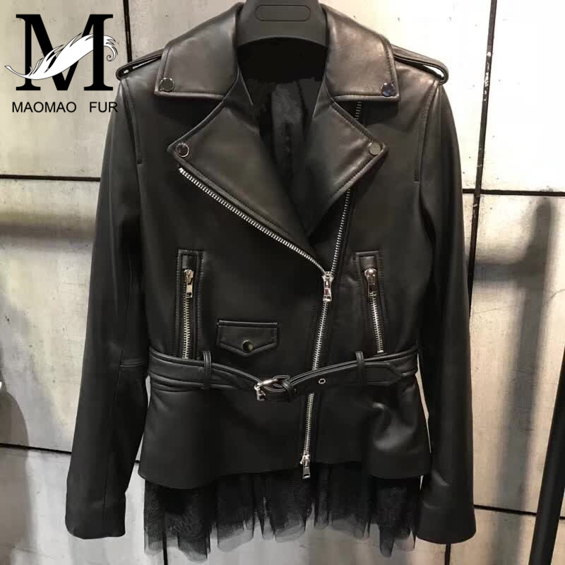 Genuine Leather Jacket Women Autumn High Fashion Street Brand Style Female Real Leather Jacket Outerwear Tp