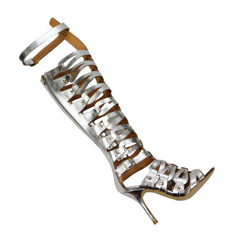 523b477ebce Women Gladiator Sandals High Heels Shoes Women Summer Buckle Strap Knee Boot  for Summer White Black 10cm Heel Sandals Size 5 12-in High Heels from Shoes  on ...