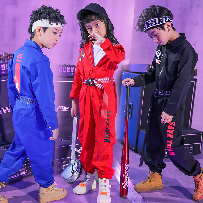Girls Jazz Modern Dancing Costumes Clothing Suits Children's Hip Hop Dance Wear Outfits Kids Stage Costumes Coverall Clothes