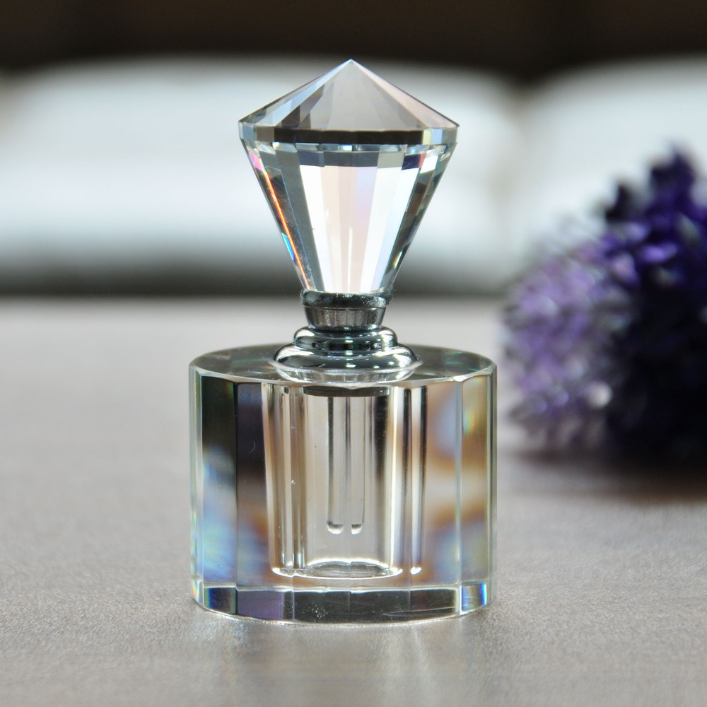 цена на H&D Vintage Clear Crystal Diamond Cap Mini Refillable Perfume Bottle Empty for Gift or Travel 5ml