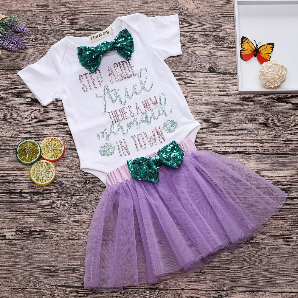 2018 Lovely Baby Girl Summer Clothes Set Letter Print White Top+Purple Tutu Dress Baby Two Piece Outfit Cute Baby Girl Bow