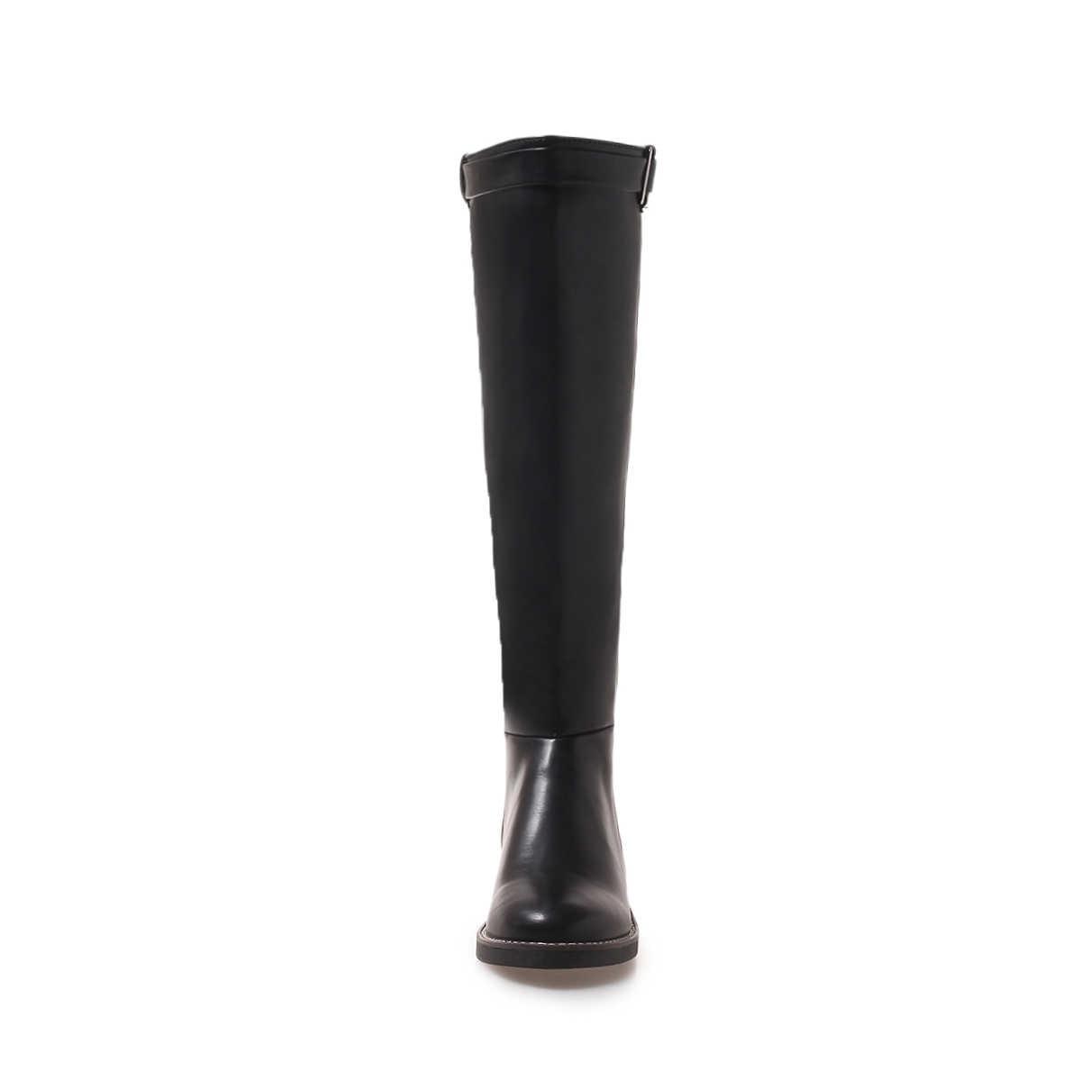 Düz Diz Yüksek Çizmeler Kadın Pu Deri Düşük Topuk Çizmeler Üzerinde Kayma Sonbahar Kış Moda Uzun Çizmeler Kadın Ayakkabı artı Boyutu 43 2018