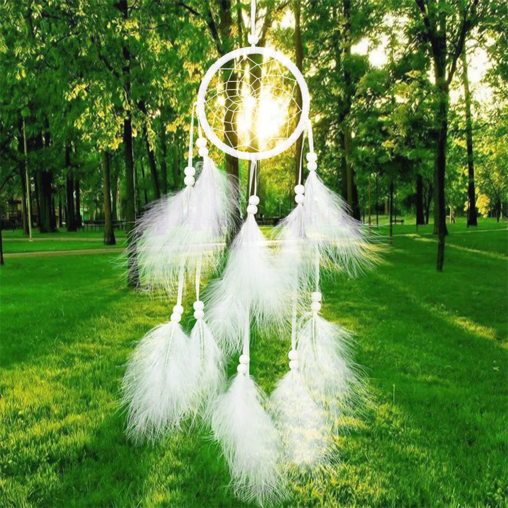 55cm Håndlaget Indian Dream Catcher Net med fjær Wind Chimes Wall Hanging Dreamcatcher Craft Gift Gratis frakt