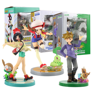 Image 1 - 20cm Anime Trainer Action Figure Gary Oak Lyra Selene Touko Mei Eevee Chikorita Rowlet Tepig Snivy ARTFX Model Toy Gift for Kid