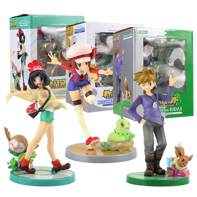 20cm Anime Trainer Action Figure Gary Oak Lyra Selene Touko Mei Eevee Chikorita Rowlet Tepig Snivy ARTFX Model Toy Gift for Kid