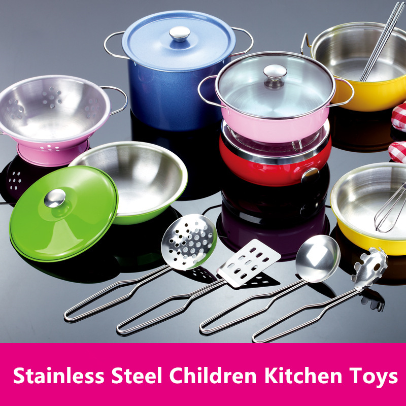 US $14.78 30% OFF|Stainless Steel Kids House Kitchen Toy Cooking Cookware  Children Pretend Play Kitchen Playset Silver Gifts Toys For Children-in ...