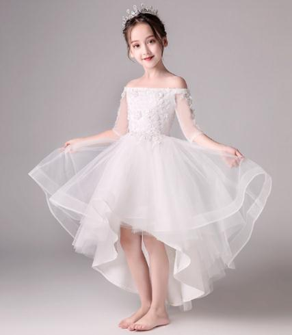 2018 High Quality Handmade Shoulderless Flower Girl Party Pageant Princess Dress For Little white Glitz Pink