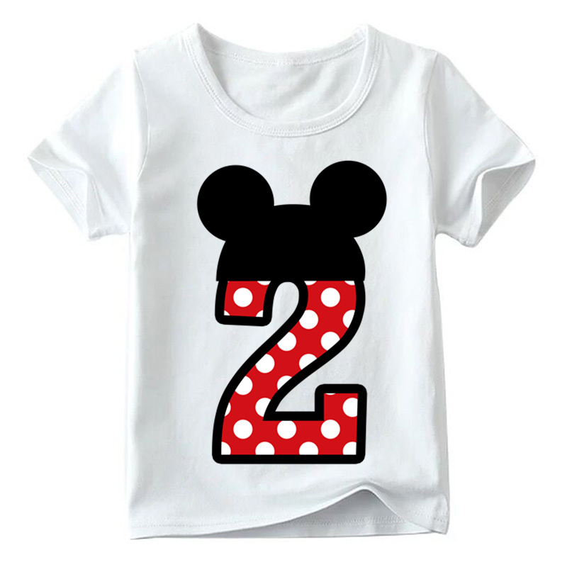 Baby Boys/Girls Happy Birthday Letter Bow Cute Print Clothes Children Funny T shirt,Kids Number 1-9 Birthday Present,HKP2416 17