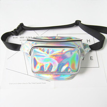 2018 hot fanny pack for women PU laser waist bag holographic leg bag leather for women's Belt bags for phone
