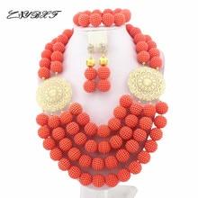 Splendid African Beads Jewelry Sets Nigerian Wedding African Coral Beads Jewelry Set L1257