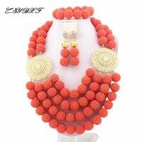 Splendid African Beads Jewelry Sets Nigerian Wedding African Coral Beads Jewelry Set HD5962