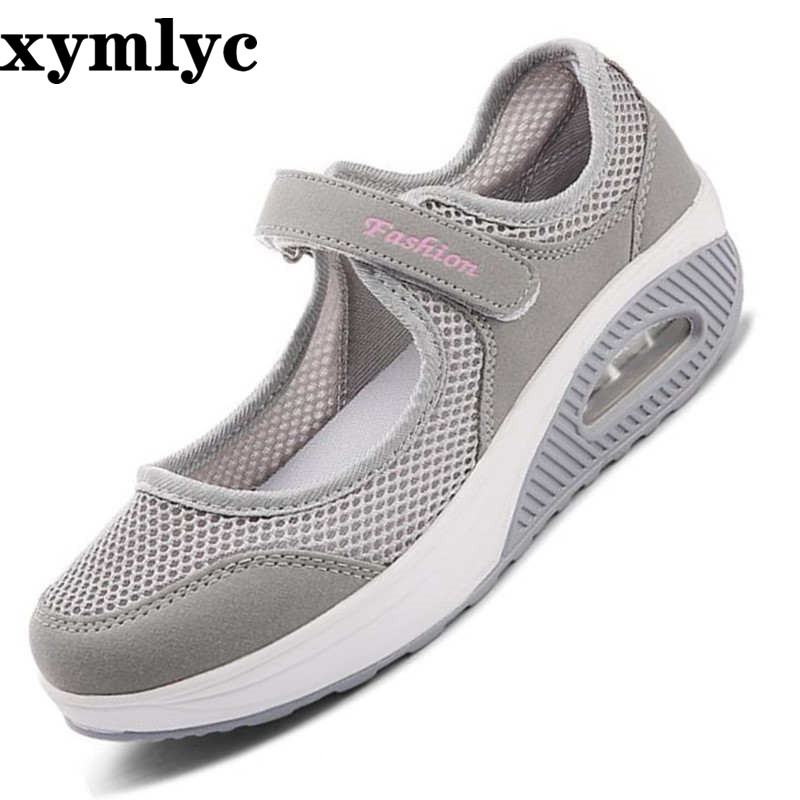 2019 Summer Fashion Women Flat Platform Shoes Woman Breathable Mesh Casual Shoes Zapatos Mujer Ladies Boat Shoes Mujer 35-43