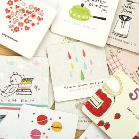 1 Teile/los 70*70mm Studenten Diy Bussiness Karten Korea Cartoon Ich Serie Mini Gruß Karte Set Mit Umschlag Weihnachten Geschenk Karte