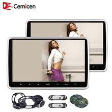 Cemicen 2 pz 10.1 pollice Auto Poggiatesta Monitor DVD Video Player USB/SD/HDMI/IR/FM TFT A CRISTALLI LIQUIDI Dello Schermo di Tocco del Pulsante di Gioco A Distanza di Controllo