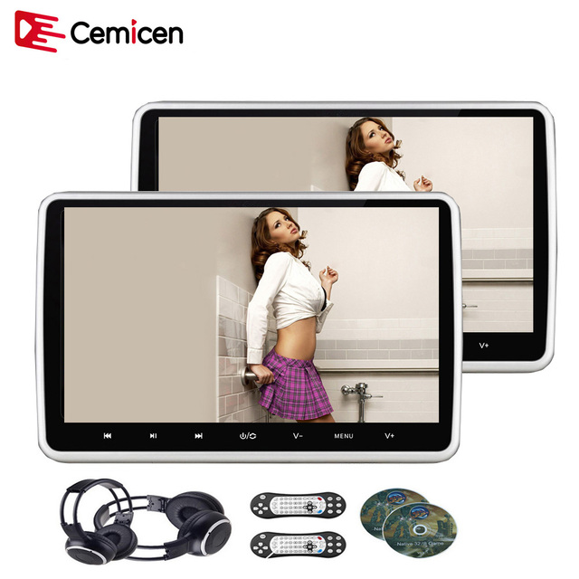 Cemicen 2PCS 10.1 Inch Car Headrest Monitor DVD Video Player USB/SD/HDMI/IR/FM TFT LCD Screen Touch Button Game Remote Control