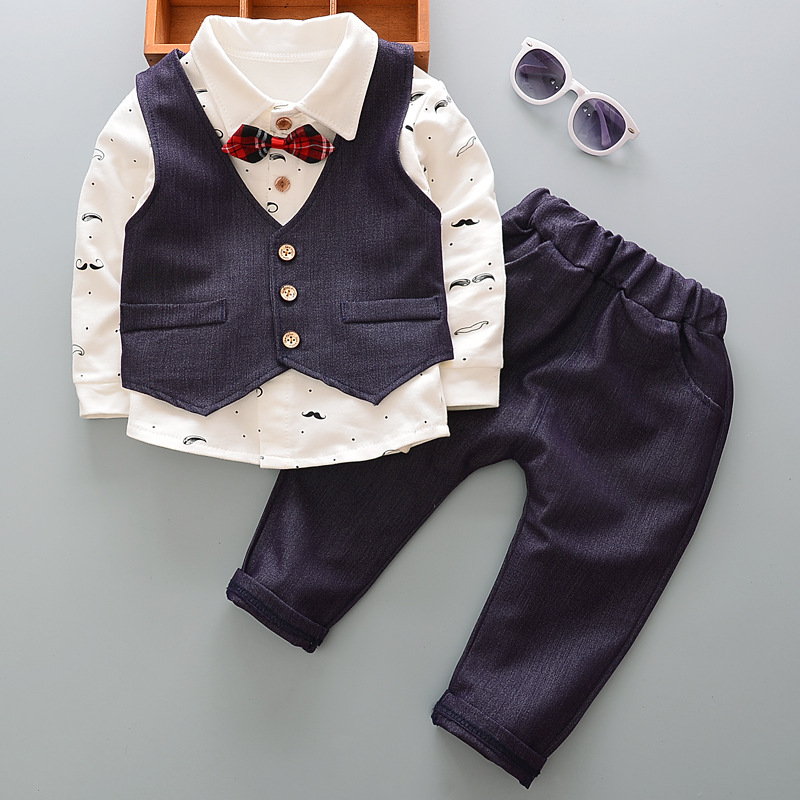 For 73-110CM Newborn Baby Boy Clothes Set Birthday Christening Cloth Infant Boys Formal Wedding Clothes Suit Vest+T-shirt+Pant summer newborn baby boy clothes set 1 year birthday christening clothing infant baby boys formal wedding suits sets t shirt pant