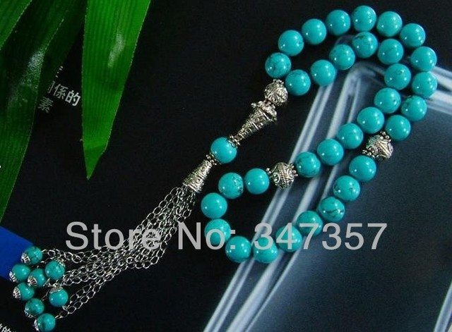 AAA Novo Design 33 contas de Turquesa Pedra Forma Redonda grânulos de Oração Muçulmano Islâmico Tasbih frete grátis