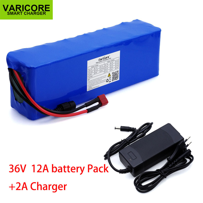 VariCore 36V 12Ah 18650 Lithium Battery Pack High Power Electric Car Motorcycle Bicycle Scooter with BMS + 42v 2A Charger
